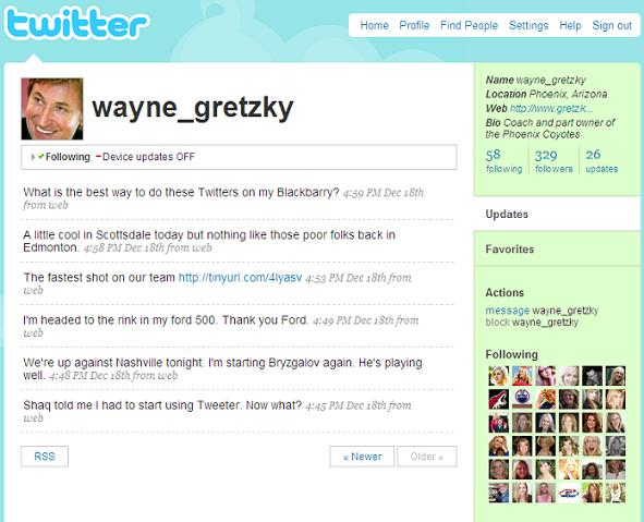 fake Wayne Gretzky Twitter profile